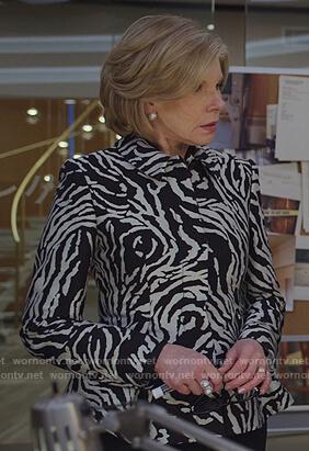 Marissa's black embellished neckline sweater on The Good Fight