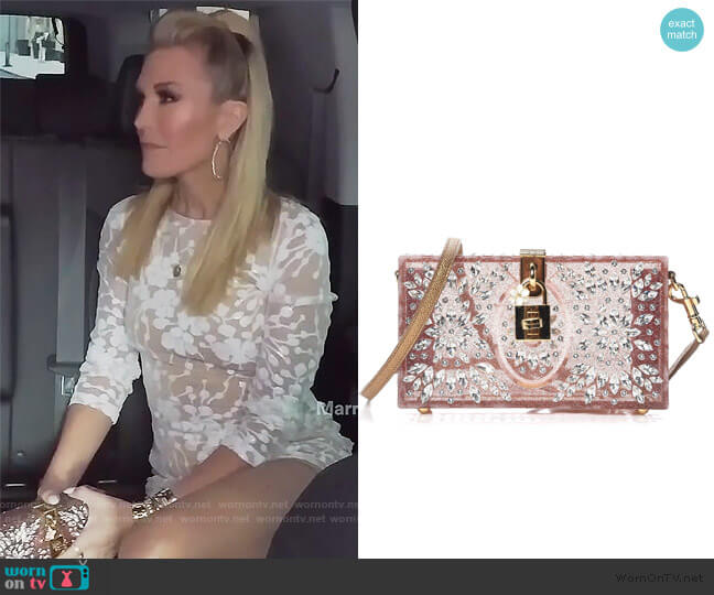 crystal embellished box clutch by Dolce & Gabbana worn by Tinsley Mortimer  on The Real Housewives of New York City