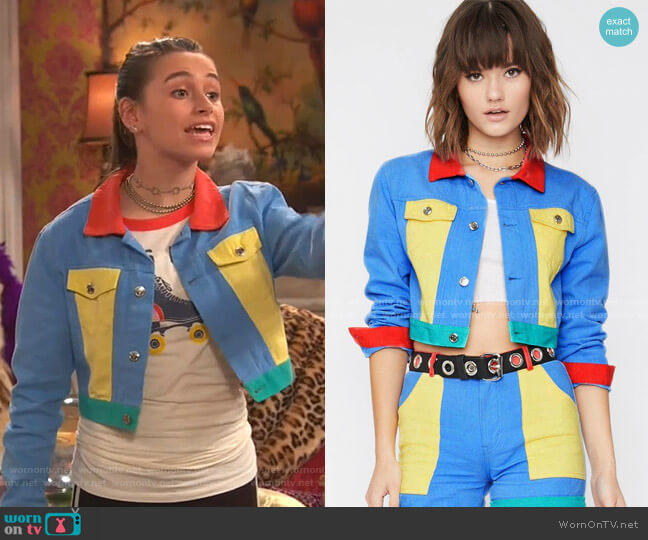 Primary Instincts Colorblock Jacket by Current Mood at Dolls Kill worn by Tess O'Malley (Sky Katz) on Ravens Home