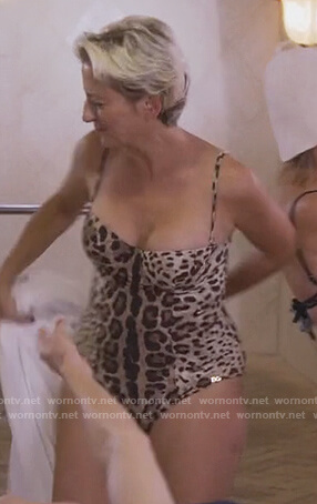 Dorinda's leopard print swimsuit on The Real Housewives of New York City