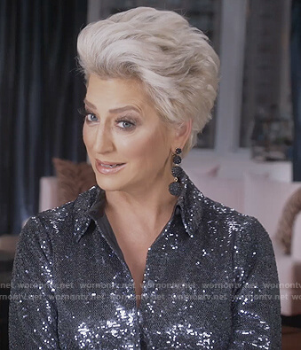 Dorinda's silver sequin shirt on The Real Housewives of New York City