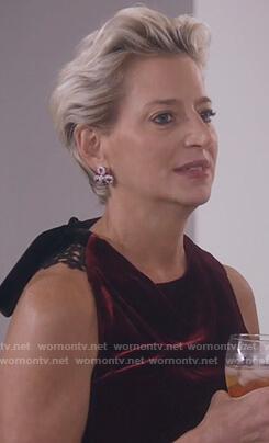 Dorinda's red velvet drape top on The Real Housewives of New York City
