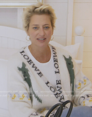 Dorinda's white patterned cardigan on The Real Housewives of New York City