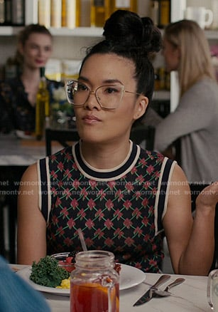 Doris's black patterned vest on American Housewife