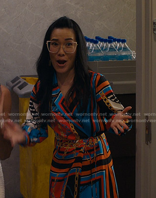 Doris's multicolored chain print dress on American Housewife