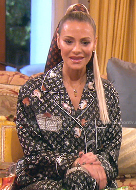 Dorit's black Louis Vuitton cat print pajamas on The Real Housewives of Beverly Hills