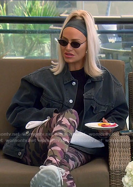 Dorit's black oversized denim jacket and camo leggings on The Real Housewives of Beverly Hills