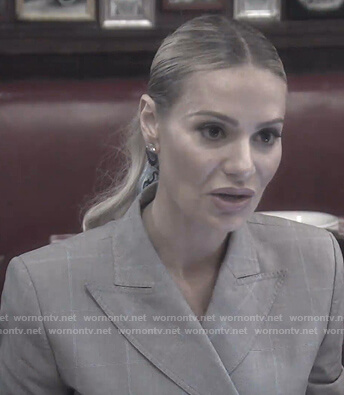 Dorit's grey check asymmetric blazer on The Real Housewives of Beverly Hills