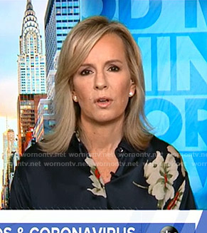 Dr. Jennifer Ashton's navy floral blouse on Good Morning America
