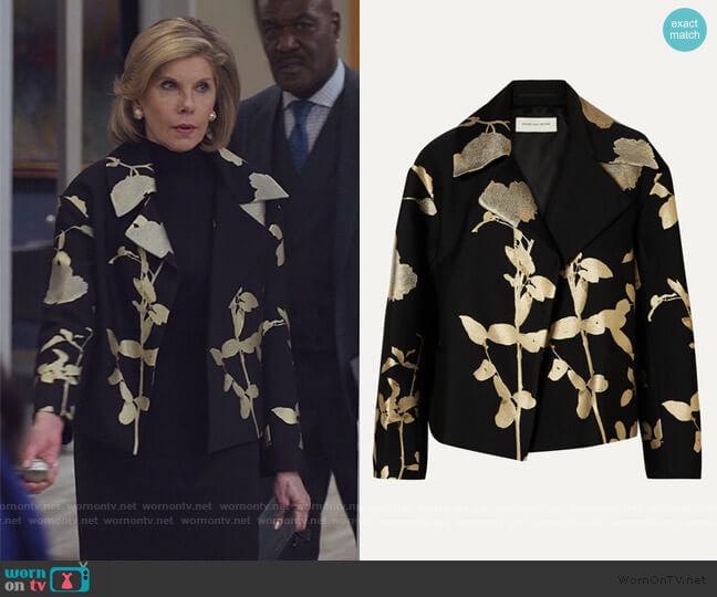 Floral Foil Blazer by Dries Van Noten worn by Diane Lockhart (Christine Baranski) on The Good Fight