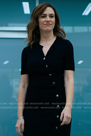 Wendy's black button front dress on Billions