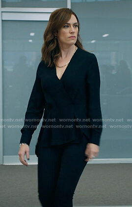 Wendy's black drape top on Billions