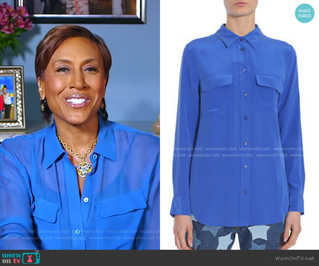 Silk Shirt by Equipment worn by Robin Roberts  on Good Morning America