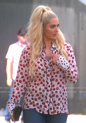 Erika's apple candy print blouse on The Real Housewives of Beverly Hills