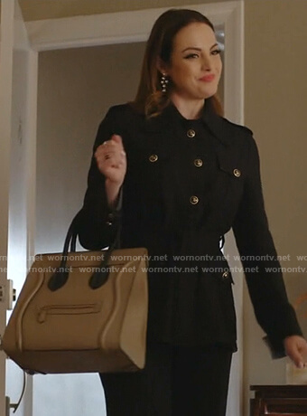 Fallon's black belted safari jacket on Dynasty