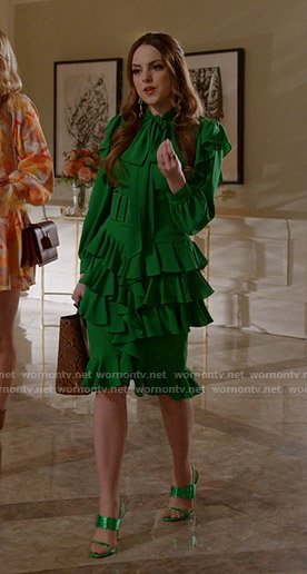 Fallon's green ruffle dress on Dynasty
