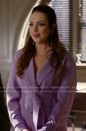 Fallon's lilac belted blazer dress on Dynasty