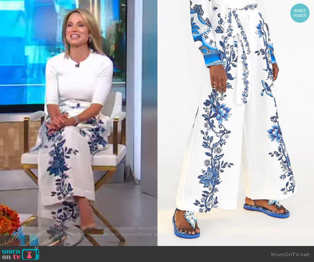 Arara Floral Linen Pants by Farm Rio worn by Amy Robach  on Good Morning America