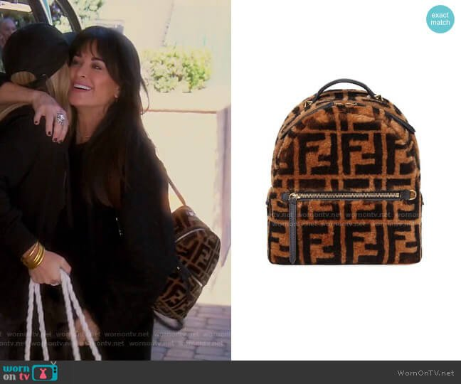 FF Mini Backpack by Fendi worn by Kyle Richards  on The Real Housewives of Beverly Hills