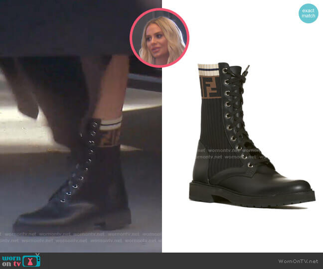 Rockoko Chelsea Sock Combat Boot by Fendi worn by Dorit Kemsley  on The Real Housewives of Beverly Hills