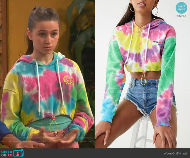 Pepsi Tie-Dye Cropped Hoodie by Forever 21 worn by Tess O'Malley (Sky Katz) on Ravens Home