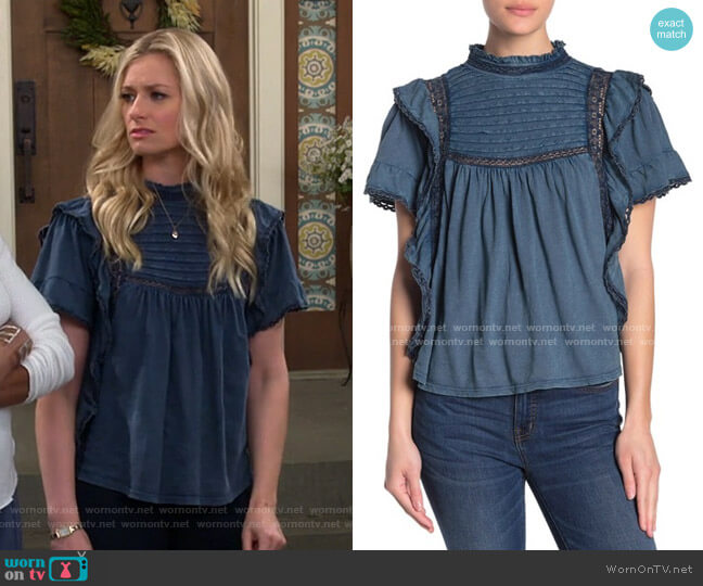 Le Femme Ruffled Babydoll Top by Free People worn by Gemma (Beth Behrs) on The Neighborhood