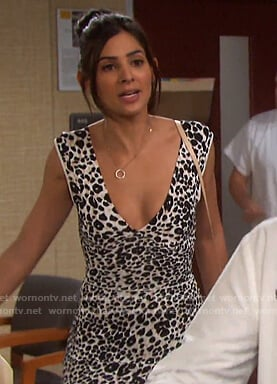 Gabi's leopard print deep v-neck dress on Days of our Lives