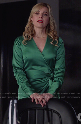 Gamemnae's green satin wrap dress on Supergirl