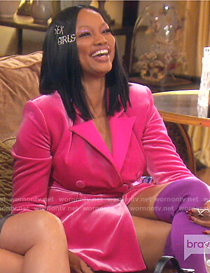Garcelle's pink velvet blazer dress on The Real Housewives of Beverly Hills