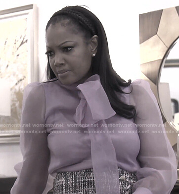 Garcelle's lilac tie neck sheer blouse on The Real Housewives of Beverly Hills