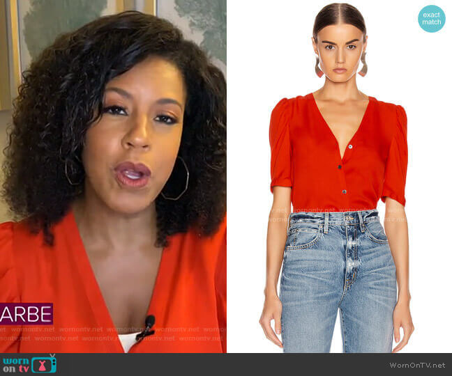 Garland Blouse by Veronica Beard worn by Sheinelle Jones  on Today