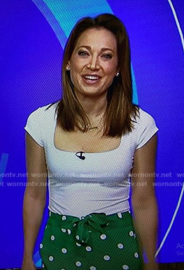 Ginger's white top and green polka dot pants on Good Morning America