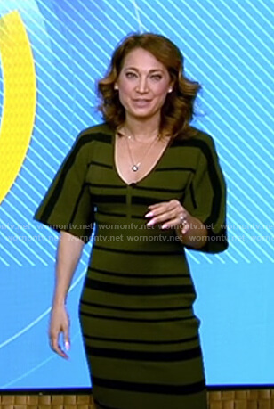 Ginger's green striped knit dress on Good Morning America