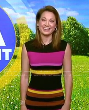 Ginger's multicolor striped knit dress on Good Morning America