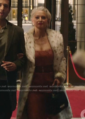 Gloria's white animal print fur coat on Katy Keene