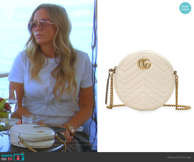 Mini Leather Canteen Shoulder Bag by Gucci worn by Teddi Mellencamp Arroyave  on The Real Housewives of Beverly Hills