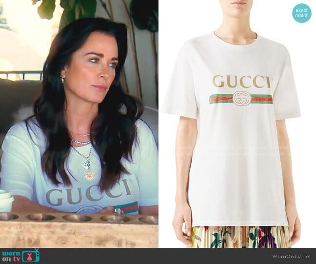 Logo T-Shirt by Gucci worn by Kyle Richards  on The Real Housewives of Beverly Hills