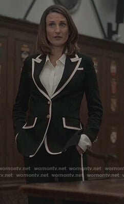 Geraldine's black stripe trim blazer on Killing Eve