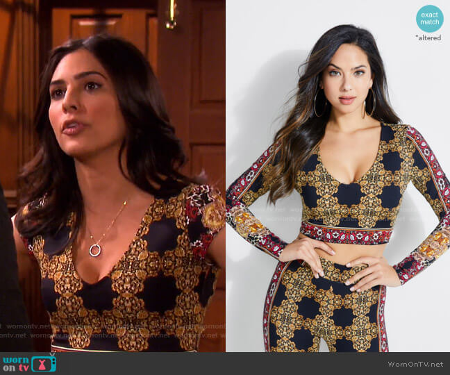 Clovia Baroque V-Neck Crop Top by Guess worn by Gabi Hernandez (Camila Banus) on Days of our Lives