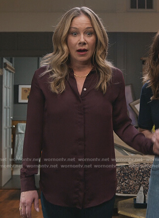 Jen's burgundy blouse on Dead to Me