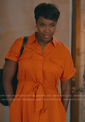 Helen's orange shirtdress on Sweet Magnolias