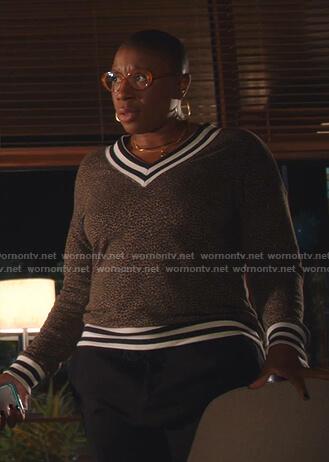 Hen's leopard varsity sweater on 9-1-1