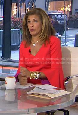Hoda's orange contrast bell sleeve dress on Today