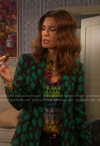 Hope's black and green animal print blazer on Days of our Lives