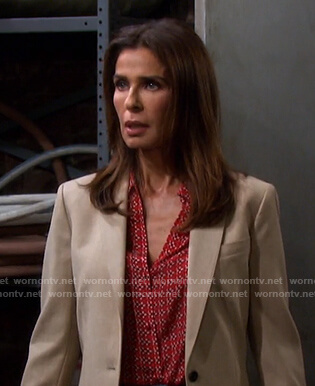 Hope's red floral blouse on Days of our Lives