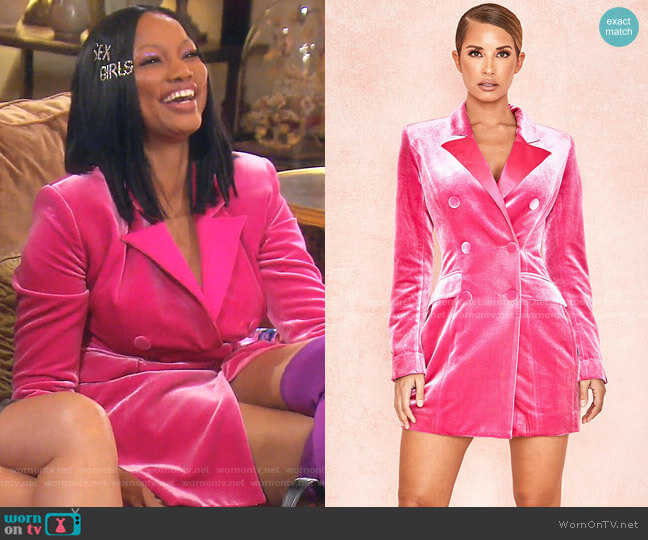 Velvet Blazer Dress by House of CB worn by Garcelle Beauvais  on The Real Housewives of Beverly Hills