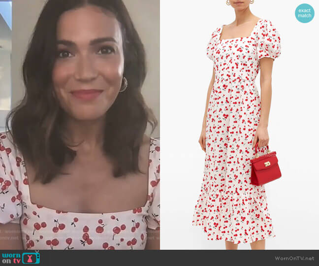 Fromer cherry-Print Cotton-Blend Poplin Dress by HVN worn by Kelly Ripa  on Live with Kelly & Ryan