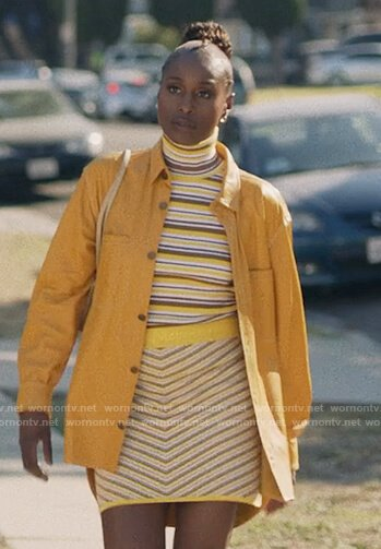 Issa's striped turtleneck sweater and skirt on Insecure