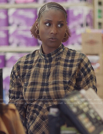 Issa's plaid mock neck mini dress on Insecure