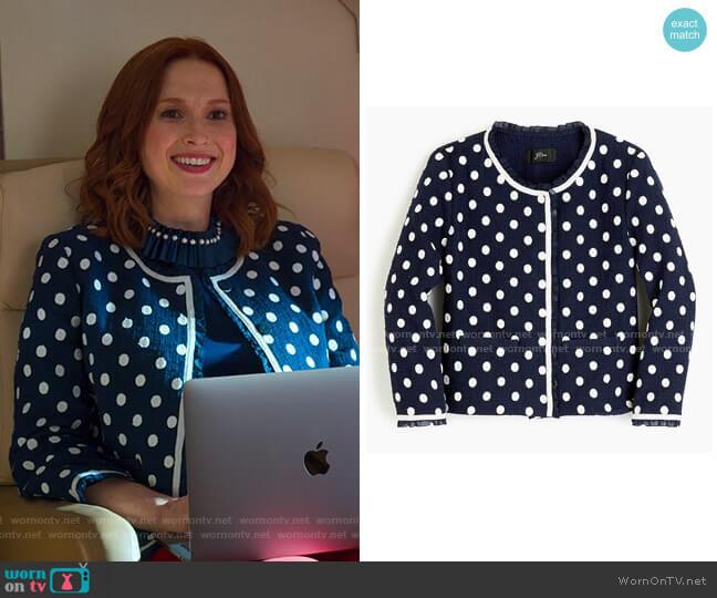 Jacket in Polka-Dot Textured Tweed by J. Crew worn by Kimmy Schmidt (Ellie Kemper) on Unbreakable Kimmy Schmidt